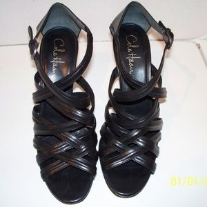 Cole Haan Black Leather Strappy Stiletto Sandal 9B